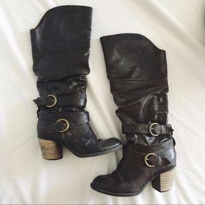 Diba Chocolate Brown Heeled Boots with Buckles